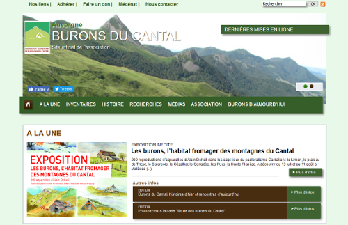 Burons du Cantal, capture d'écran du site web