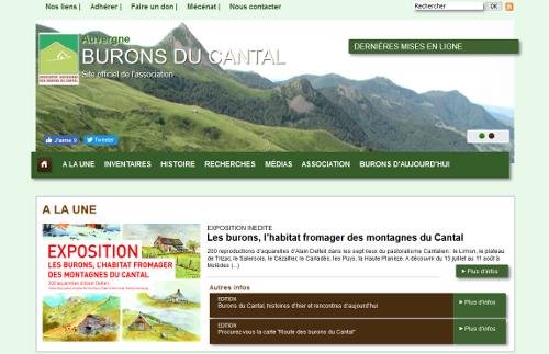 Burons du Cantal, une capture d'écran du site web de l'association engagée dans leur sauvegarde
