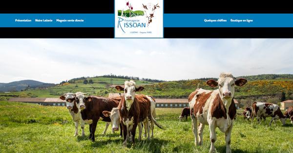 Une capture d'écran du site web de la laiterie Rissoan