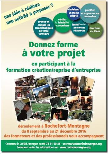Affiche de la formation création/reprise d'entreprise du Crefad Auvergne