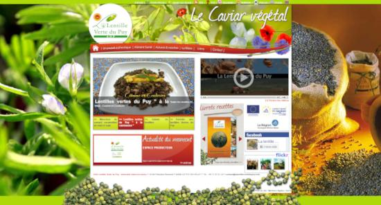 Une capture d'écran du site web officiel de l'AOP Lentille Verte du Puy