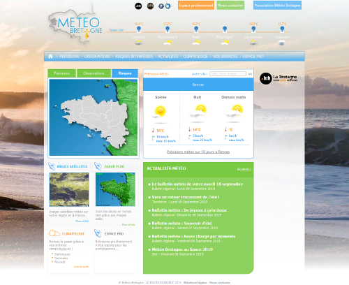 Météo Bretagne, une capture d'écran du site web