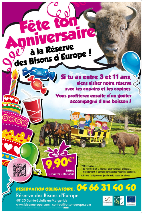 L'affiche d'une animation au Parc aux bisons d'Europe